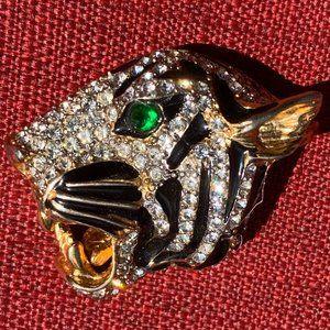 Rare Vintage KENNETH LANE Tiger Face Pin